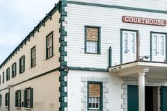 Facade of Philipsburg Courthouse, old town historic landmark in Philipsburg, Sint Maarten stock photo