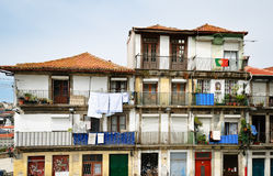 Facade old urban house in Porto city Stock Images