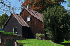 The facade of the old wooden house Stock Image