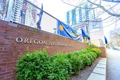 Facade of Oregon Historical Society Museum, South Park Blocks, P. Portland, Oregon, United States - Dec 22, 2017 : Facade of Oregon Historical Society Museum royalty free stock images