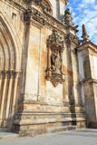 Facade ornaments. Catholic monastery and cathedral in the small city of Alkobasa. Facade ornaments. Portugal Royalty Free Stock Photos