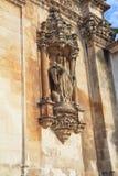 Facade ornaments of catholic monastery. Facade ornaments. Portugal. Catholic monastery and cathedral in the small city of Alkobasa Stock Photography