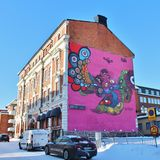 Facade painting on the old post office building in Luleå Stock Photo