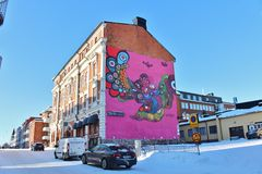 Facade painting on the old post office building in Luleå Stock Images