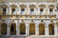 Facade of the Palace of the Doges. Fragment of the inner facade of the Palace of the Doges of the Venetian Republic. Venice. Italy stock photos