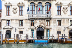 Facade of palace on Grand Canal in Venice city Royalty Free Stock Photography