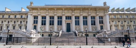 Facade of the Palace of Justice in Paris stock image