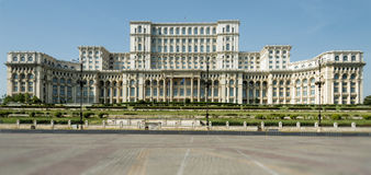 Facade of the Palace of Parliament in Bucharest Stock Photos