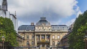 Facade of Palais de Justice in Paris, France stock images