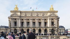 Facade of the Palais Garnier Academie Nationale de Musique. Paris, France - February 09, 2018: Facade of the Palais Garnier Academie Nationale de Musique, a Stock Photos