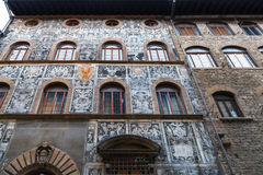 Facade of Palazzo di Bianca Cappello in Florence Royalty Free Stock Photo