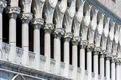 Facade of the Palazzo Ducale in Venice, Italy. Colonnade of the facade of the Doge`s Palace, or Palazzo Ducale, in Venice, Italy. Dode`s Palace is one of the Royalty Free Stock Photos