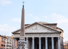 Facade of Pantheon temple and obelisk in Rome Royalty Free Stock Photography