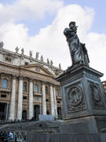 Facade of the Papal Basilica of St. Peter in Vatican City. Designed principally by Donato Bramante, Michelangelo, Carlo Maderno and Gian Lorenzo Bernini, St royalty free stock image
