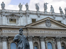 Facade of the Papal Basilica of St. Peter in Vatican City. Designed principally by Donato Bramante, Michelangelo, Carlo Maderno and Gian Lorenzo Bernini, St stock photo