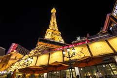 Facade of Paris Las Vegas hotel and Casino at night in Las Vegas strip. Las Vegas, Nevada - May 27, 2018 : Facade of Paris Las Vegas hotel and Casino at night in Royalty Free Stock Images