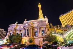 Facade of Paris Las Vegas hotel and Casino at night in Las Vegas strip. Las Vegas, Nevada - May 27, 2018 : Facade of Paris Las Vegas hotel and Casino at night in Stock Images