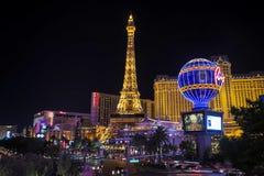 Facade of Paris Las Vegas hotel and Casino at night in Las Vegas strip. Las Vegas, Nevada - May 27, 2018 : Facade of Paris Las Vegas hotel and Casino at night in Royalty Free Stock Photos