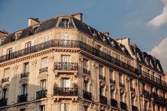 Facade of Parisian building, France. royalty free stock image