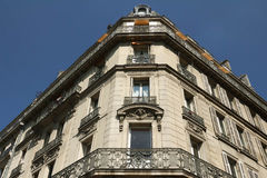 The facade of Parisian building, Paris, France. stock image