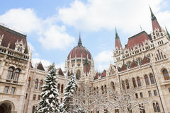 Facade of parliament winter day, Budapest Stock Image