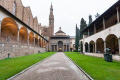 Facade of Pazzi Chapel in Arnolfo cloister. FLORENCE, ITALY - NOVEMBER 6, 2016: facade of Pazzi Chapel in Arnolfo cloister of Basilica di Santa Croce Basilica of Stock Photos