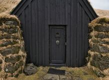 Facade of a peat house in Iceland near Hella royalty free stock photography