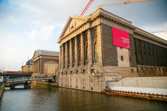 Facade of the Pergammonmuseum in Berlin on the river. Stock Photography