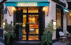 The Facade of Petrossian fish caviar restaurant located in central Paris