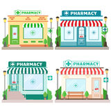 Facade pharmacy store with a signboard, awning and symbol in shopwindow. Set of Facade pharmacy stores with a signboard, awning and symbol in shopwindow. Front Stock Images