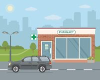 Facade pharmacy store and SUV car on city background. Royalty Free Stock Photos