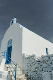 Facade with porch of traditional white blue Greek Stock Photos