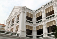 Facade of Raffles Hotel, Singapore. Facade of open corridor at Raffles Hotel, Singapore Stock Photo