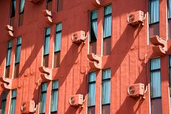 Facade of a Red Building stock images