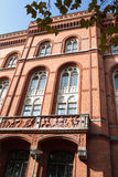 Facade of the red town hall in Berlin. Part of the facade of the red town hall in Berlin royalty free stock image