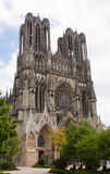 Facade of Reims cathedral Notre-Dame Royalty Free Stock Images