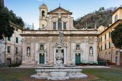 Sanctuary of Nostra Signora della Misericordia of Savona. The facade of the reinassance sanctuary of Nostra Signora della Misericordia near Savona stock photo