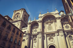Facade of the renaissance cathedral, Granada, Andalusia, Spain Stock Images