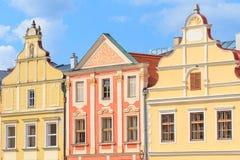 Facade of Renaissance houses in Telc, Czech Republic (a UNESCO w. Orld heritage site Stock Images