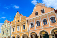 Facade of Renaissance houses in Telc, Czech Republic Stock Images