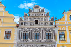 Facade of Renaissance houses in Telc, Czech Republic Stock Photo