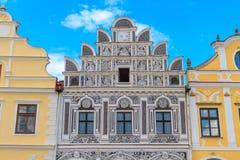 Facade of Renaissance houses in Telc, Czech Republic. (a UNESCO world heritage site Stock Photo