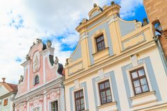 Facade of Renaissance houses in Telc Stock Photography