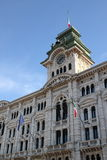 Facade of a renaissance palace. In Trieste, Italy with a clock tower stock images