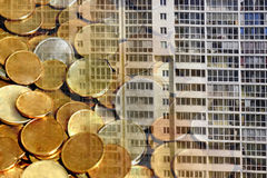 The facade of a residential high-rise house on a background of money . Stock Image