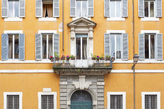 Facade of a residential house in Rome, Italy Royalty Free Stock Images