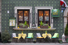 The facade of the restaurant Ciao Napoli in the old town in Warsaw Stock Photo