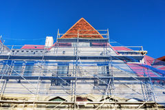 Facade restoration with scaffolding Royalty Free Stock Images
