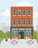 Facade of Retro city cafe in French style. Flat style vector illustration. vector illustration