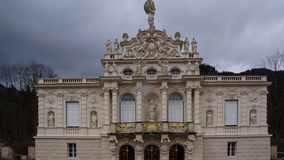 Facade of rococo palace linderhof stock images